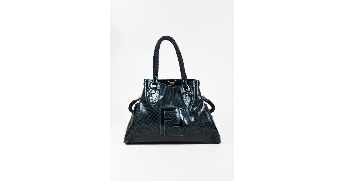4d205bb7f38d Lyst - Fendi Black   Blue Patent Leather Perforated Medium
