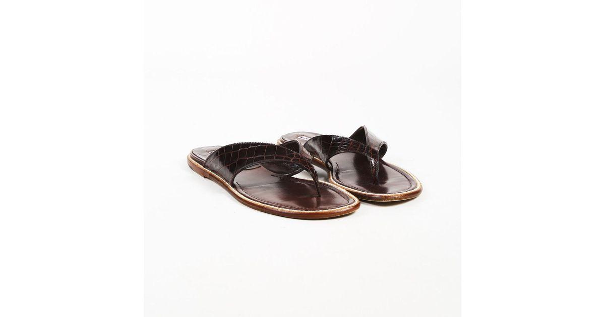 192643e9b33 Manolo Blahnik Brown Alligator Skin   Leather Slide Thong Sandals in Brown  - Lyst