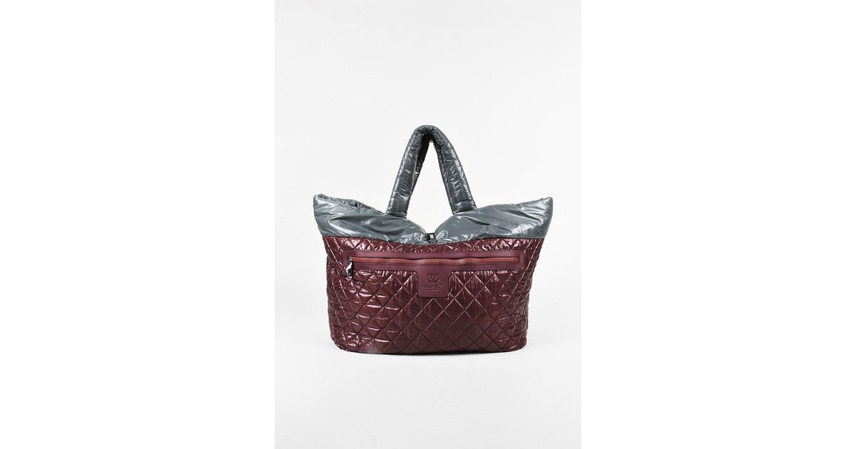 807d329a9bb3 Lyst - Chanel Red Grey Quilted Nylon Reversible