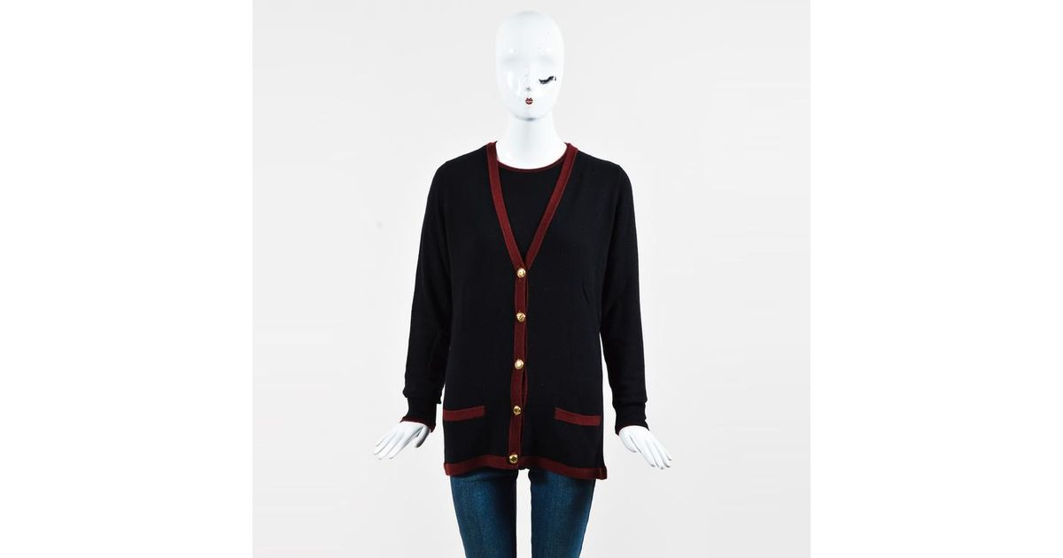 Lyst - Chanel Vintage Black   Red Cashmere Knit  cc  Button V Neck Sweater  Set in Black 830081334