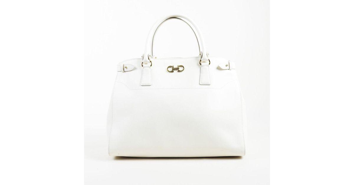 db81d263cea9 Lyst - Ferragamo White Saffiano Leather Large