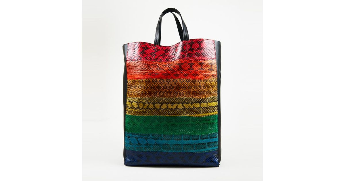 dcb4b1745dd Lyst - Céline Multicolor Ayers Snakeskin   Leather Rainbow Vertical Cabas  Tote Bag in Black