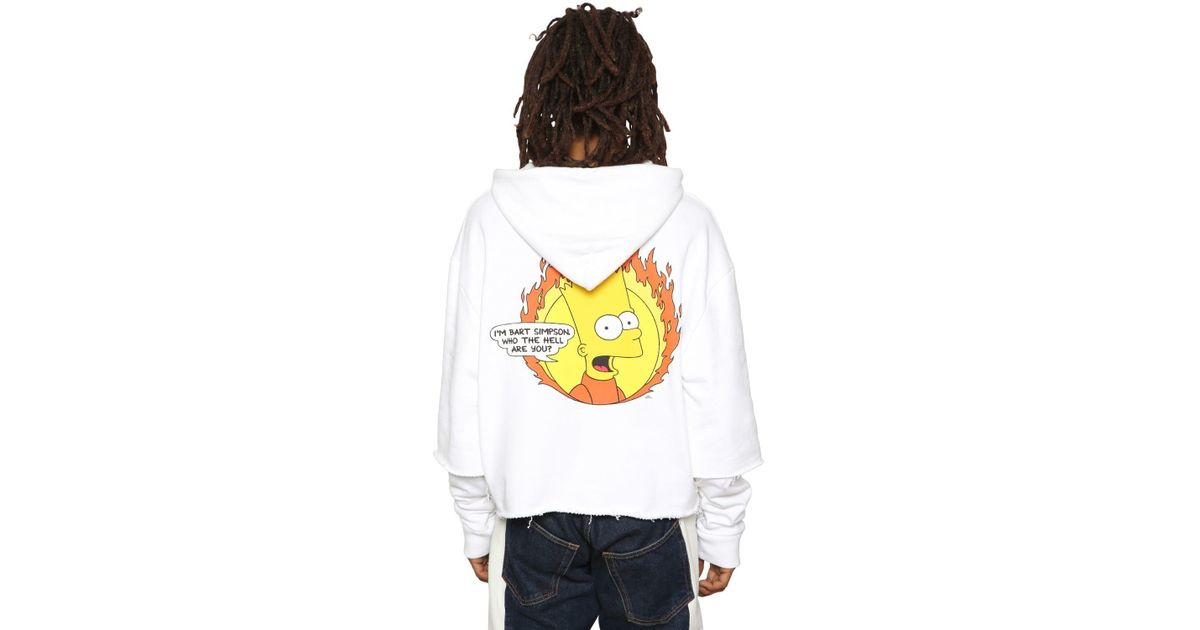 abff6a81c Off-White c/o Virgil Abloh Bart Printed Jersey Sweatshirt Hoodie in White  for Men - Lyst