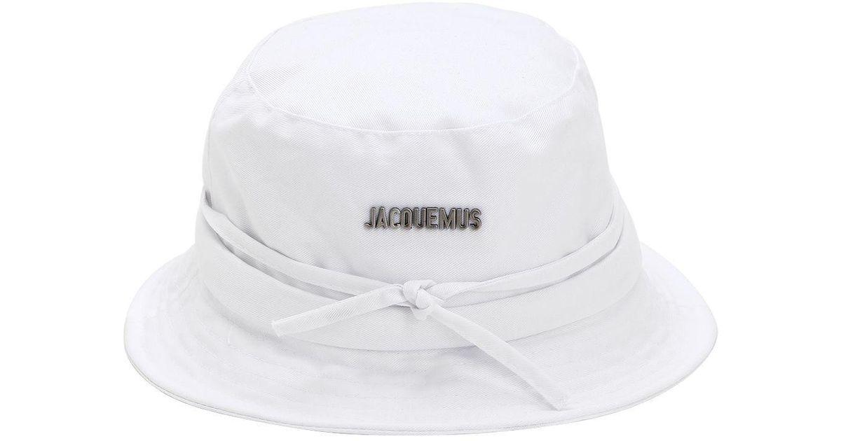 Jacquemus Le Bob Cotton Blend Canvas Bucket Hat in White for Men - Lyst 3a3994451f7