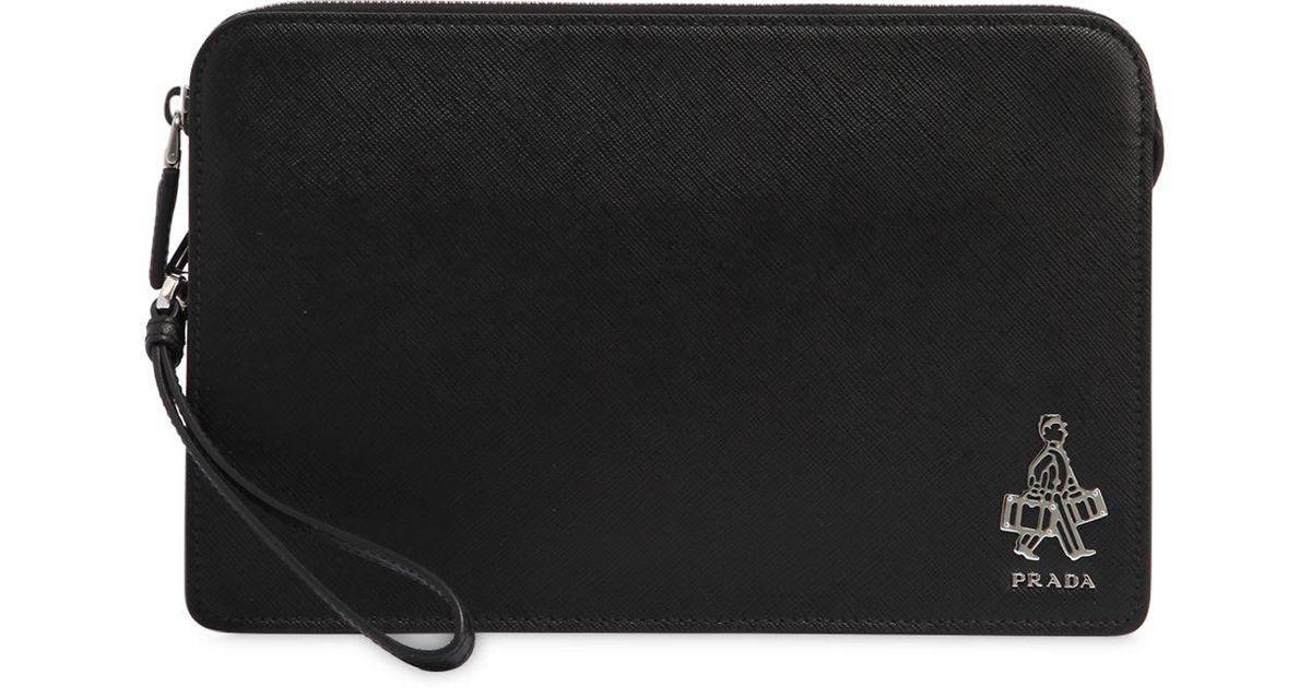 32c3e781fb46 ... inexpensive lyst prada saffiano leather money bag in black for men  53c47 c9bde