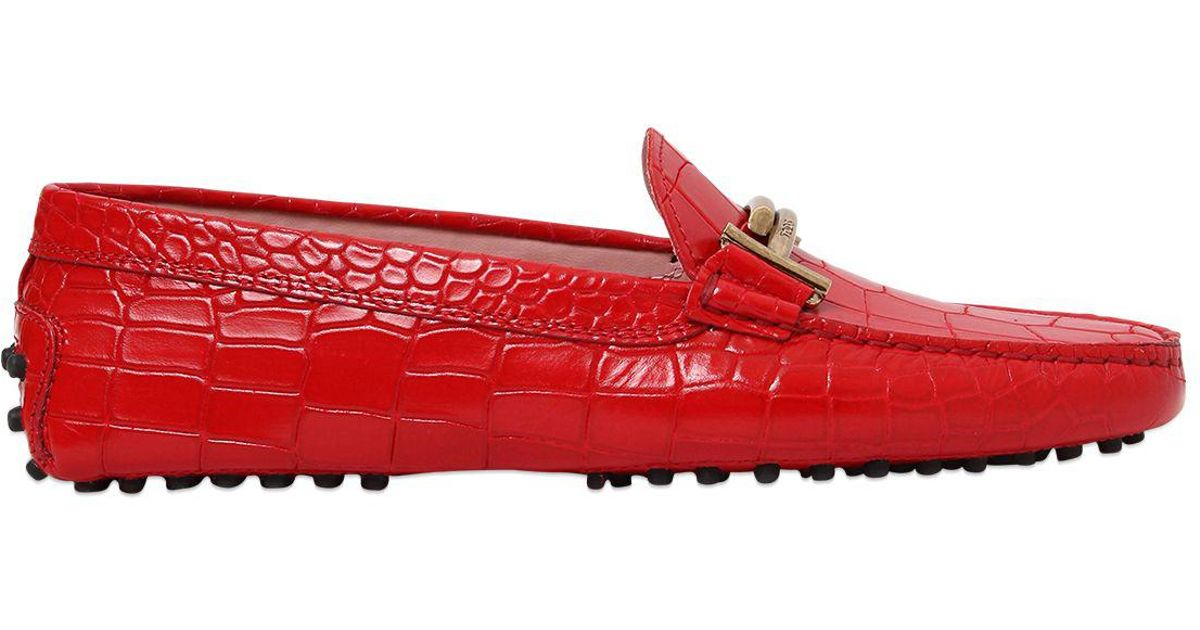 d6696de289 Tod's Gommino Double T Croc Embossed Loafers in Red - Lyst