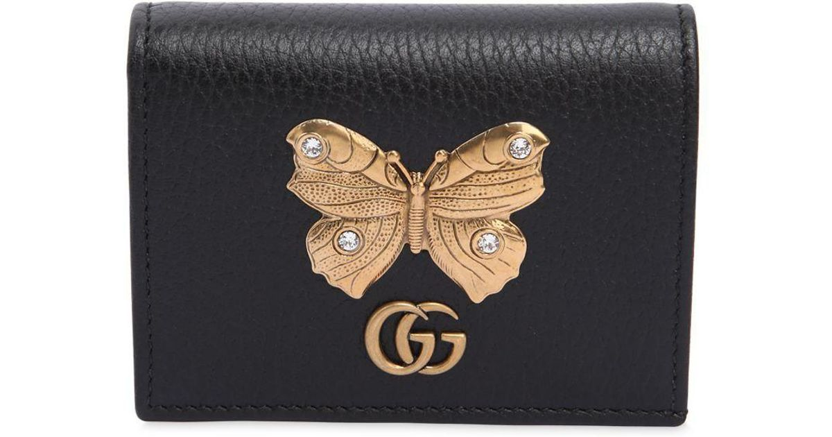 Lyst - Gucci Butterfly Leather Card Case in Black d12c6fce99f