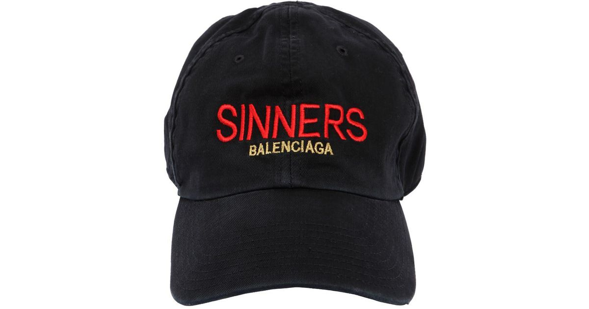 a8e54bf3 Balenciaga Sinners Embroidered Cotton Gabardine Hat in Black for Men - Lyst