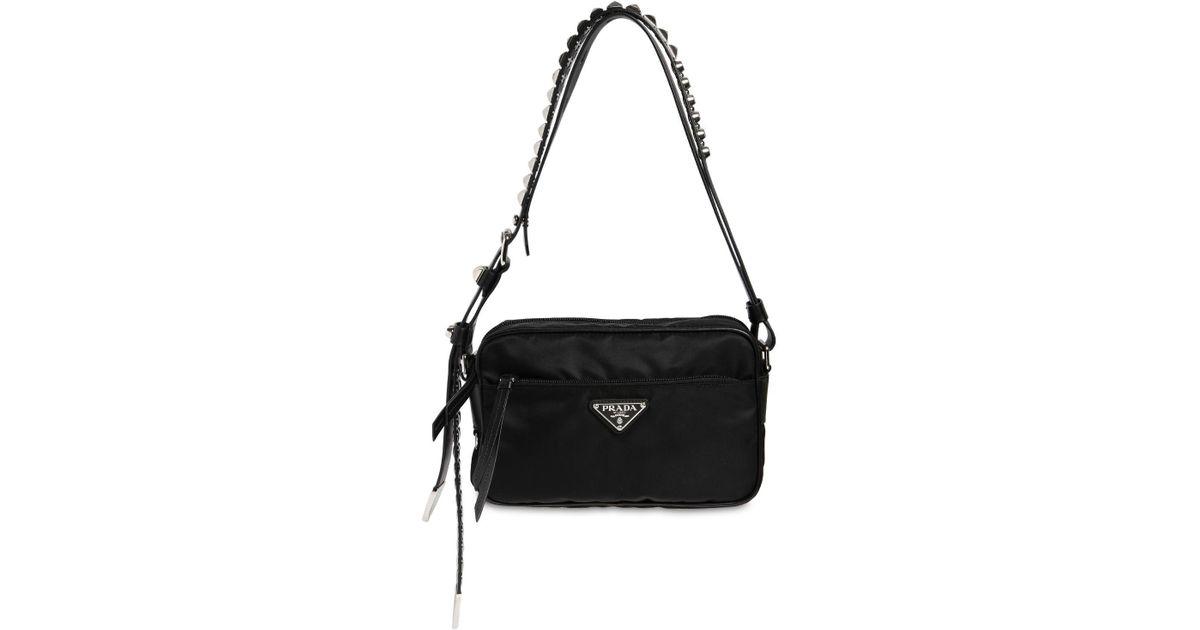ca9e8e808d Prada Nylon Camera Bag W/ Studded Strap in Black - Save 13% - Lyst