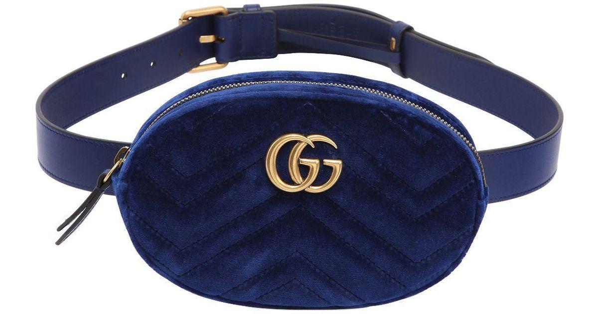 4e8794fedf4 Gucci Small Gg Marmont Velvet Belt Pack in Blue - Lyst