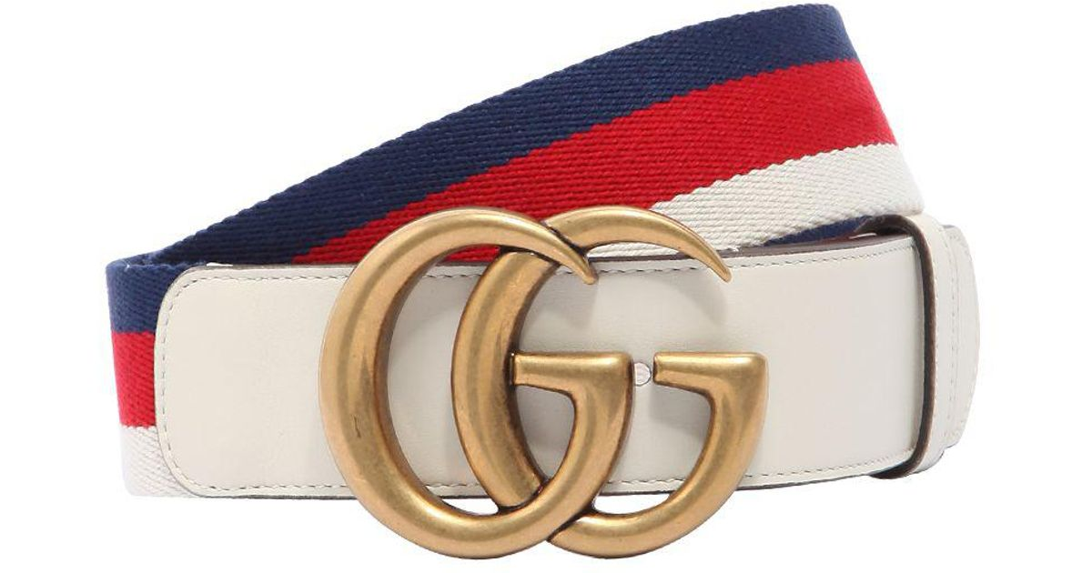 2d4a4ffa1bc Gucci 40mm Gg Marmont Web   Leather Belt in Blue - Lyst