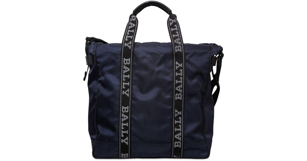 74285dfcfe Lyst - Bally Nylon Tote Bag W  Logo Bands in Black