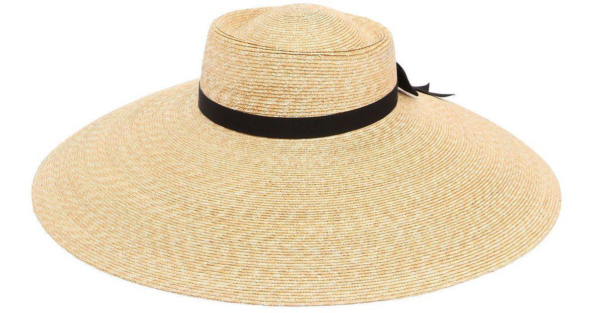 89712b1bf6e43 Gucci Wide Brim Straw Hat in Natural - Lyst