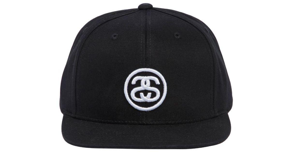 6bcb854df97b34 Stussy Ss Link Logo Sp18 Cotton Baseball Hat in Black for Men - Lyst