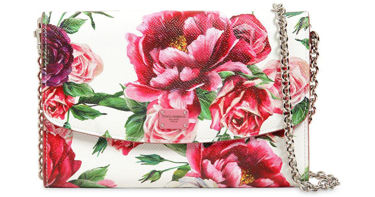 e1d5de02 Dolce & Gabbana Floral Printed Dauphine Leather Clutch in Pink - Lyst