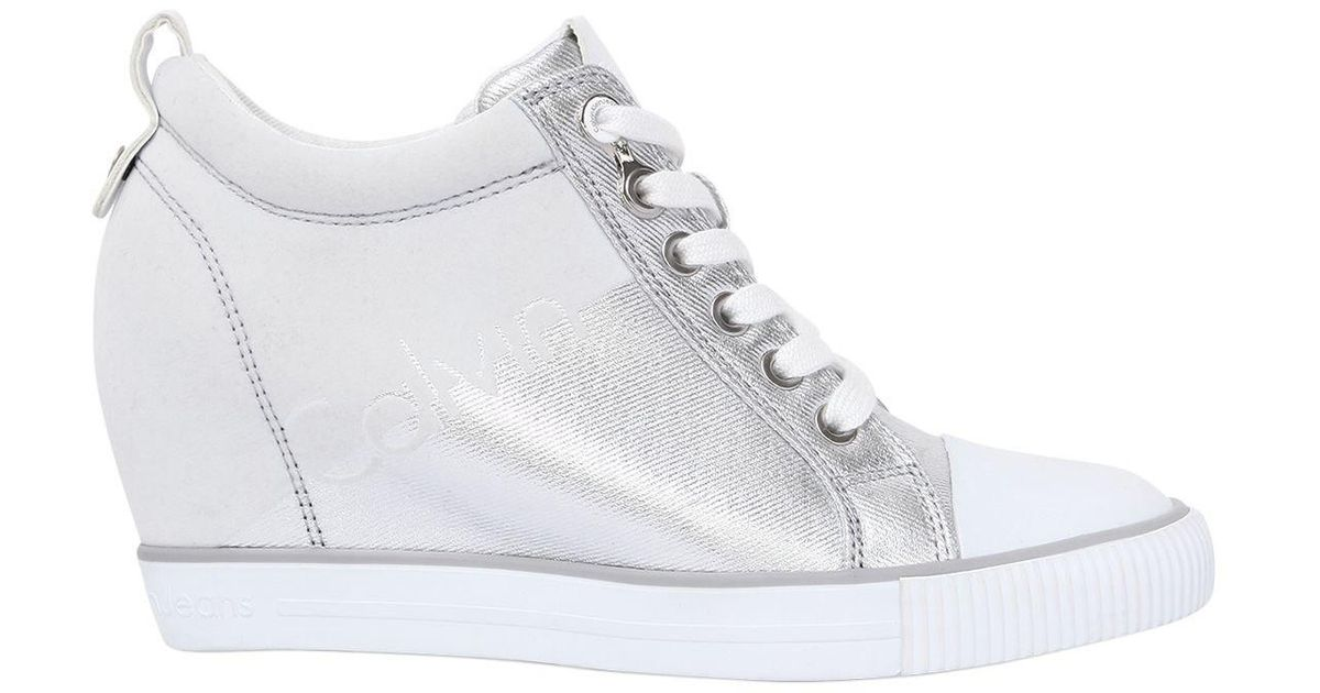Calvin Klein 70MM RITZY COTTON CANVAS WEDGE SNEAKERS cCKlhf6a