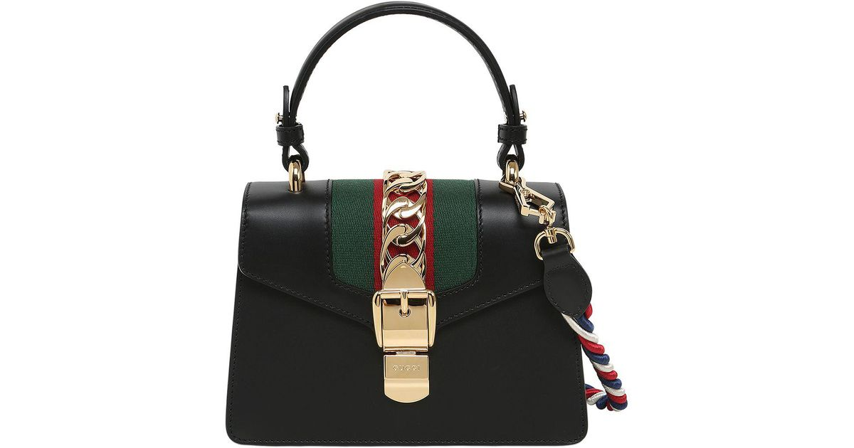 f7527f2aa0f9a4 Gucci Sylvie Mini Leather Shoulder Bag in Black - Lyst