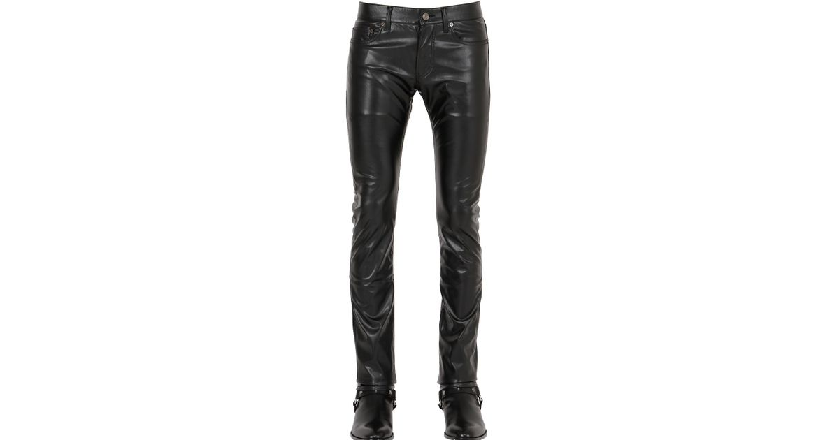 73cd6a9eeda2 Lyst - Saint Laurent 17.5cm Stretch Faux Leather Jeans in Black for Men