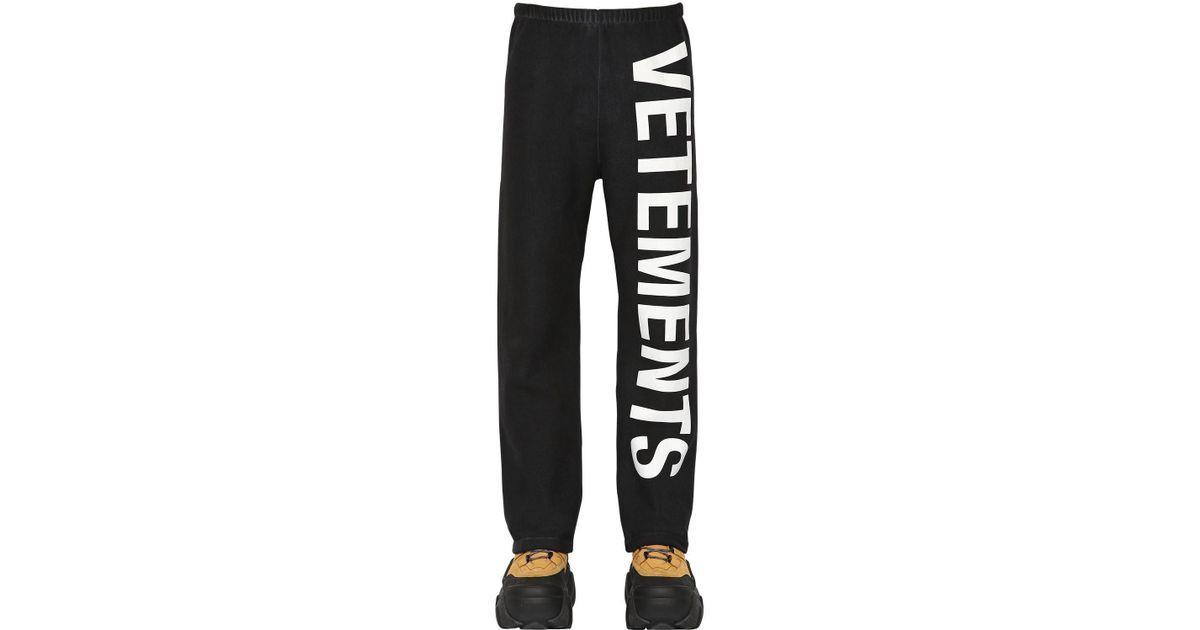 c006b686a Lyst - Vetements Logo Printed Cotton Blend Sweatpants in Black for Men