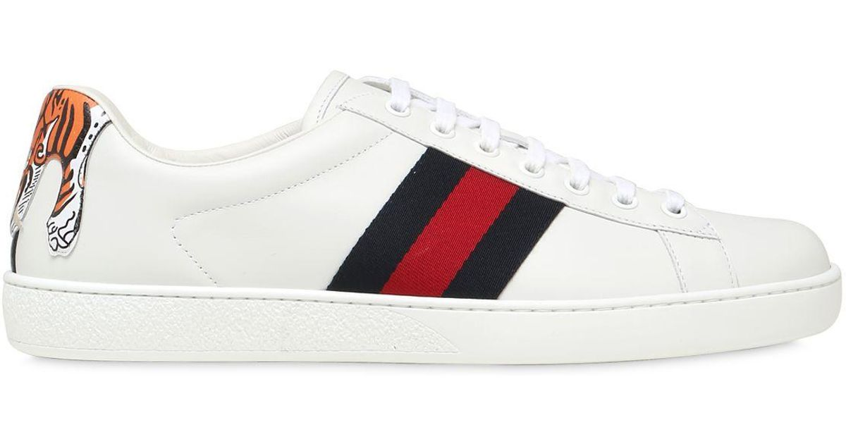 Lyst - Gucci Tiger New Ace Leather Sneakers in White for Men 6e0aa3b50