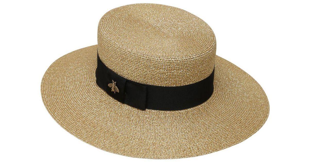 8f73ed372d33e Lyst - Gucci Straw Effect Woven Lurex Hat in Metallic