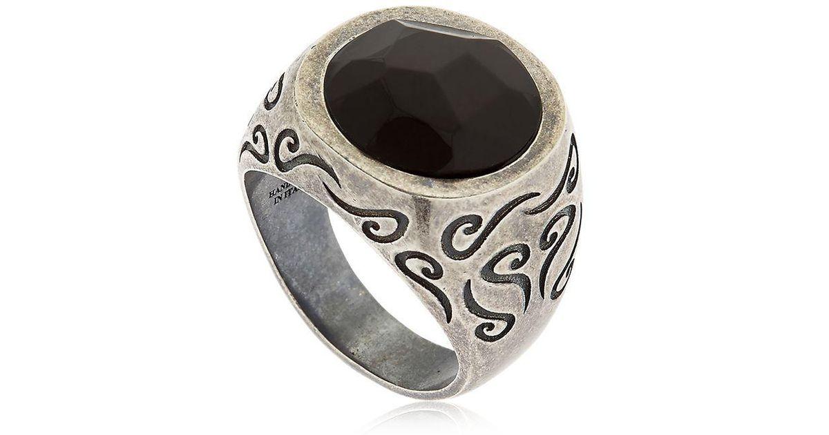 Marco Dal Maso Mens Ara Double-Rectangle Ring w/ Diamonds, Size 10