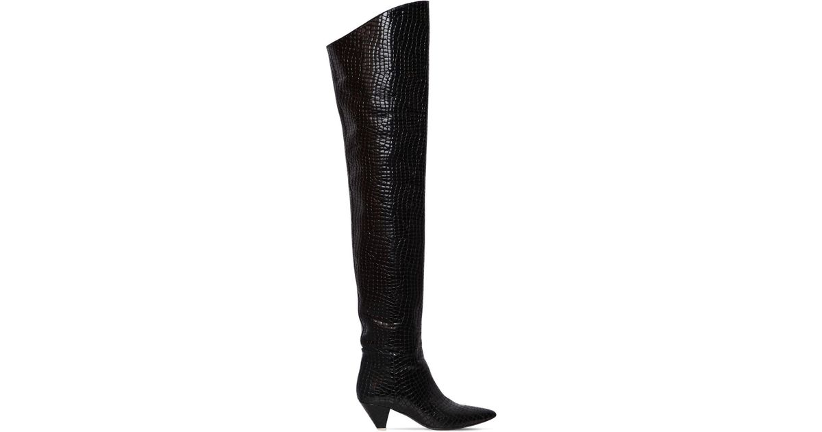 b571af7acc6 Lyst - Attico Black Crocodile Print 45 Leather Over-the-knee Boots in Black  - Save 62%