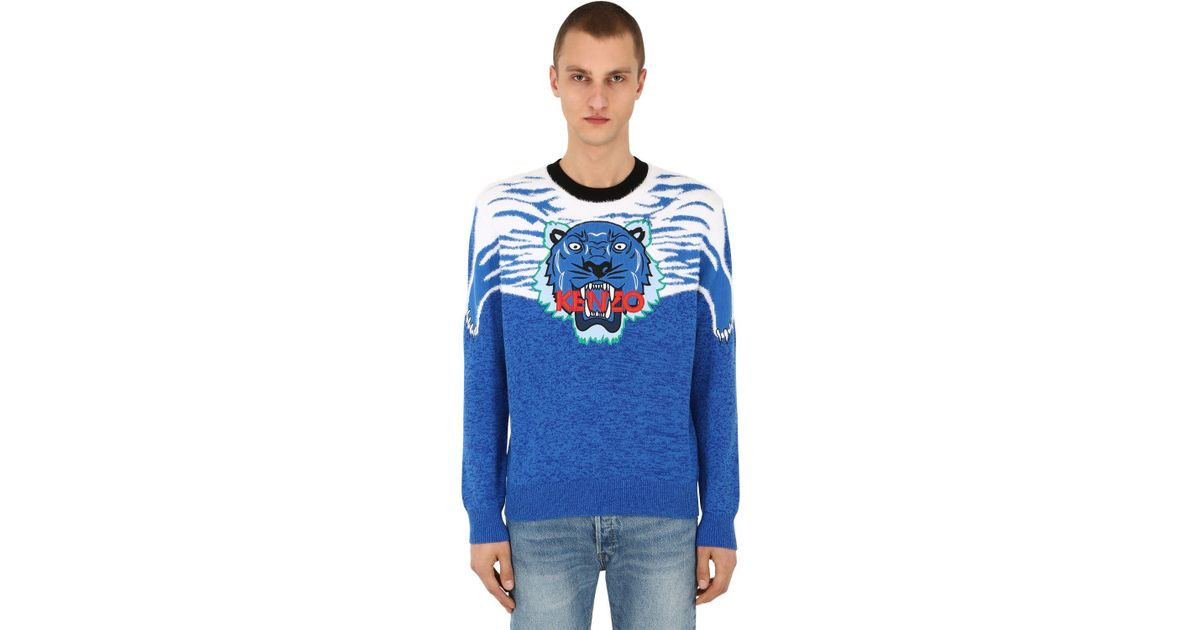 595595017 KENZO Tiger Patch Intarsia Knit Sweater in Blue for Men - Lyst