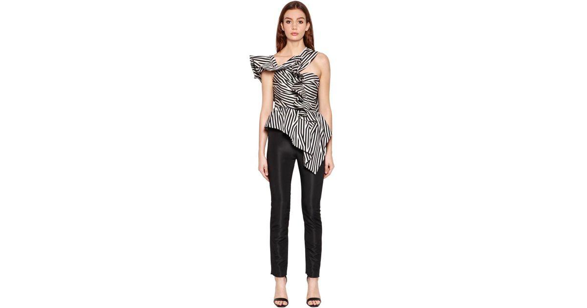 858040d33 Lyst - Self-Portrait Asymmetrical Ruffle Striped Jumpsuit in Black