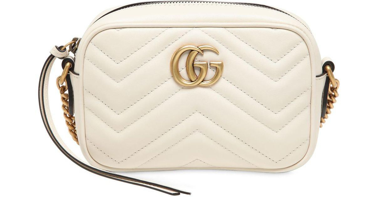 1816493d375 Gucci Mini Gg Marmont 2.0 Leather Camera Bag in White - Lyst