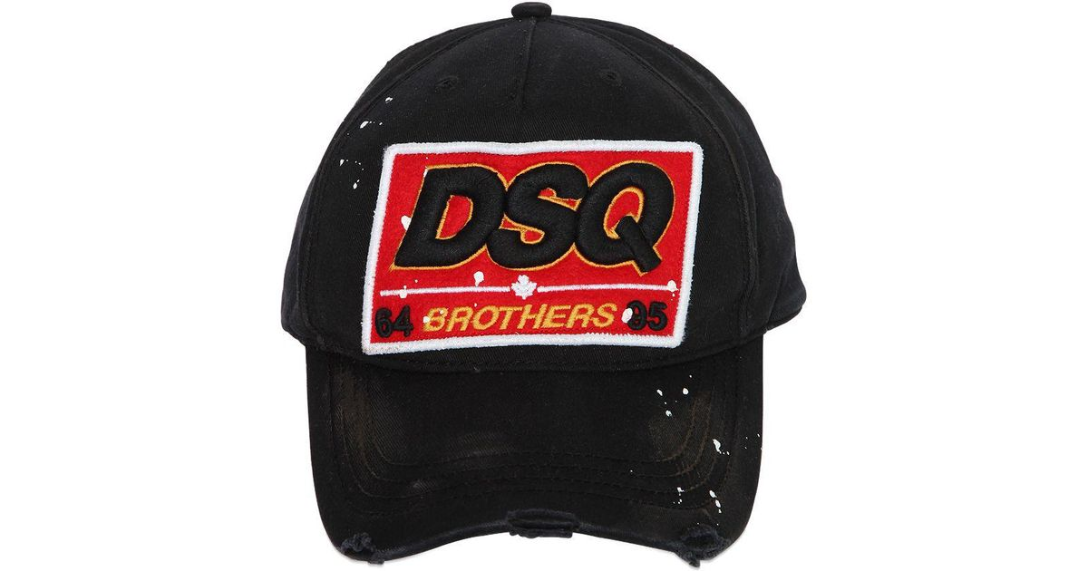 DSquared² Dsq Patch Cotton Canvas Baseball Hat in Black for Men - Lyst 1fde7141c85e