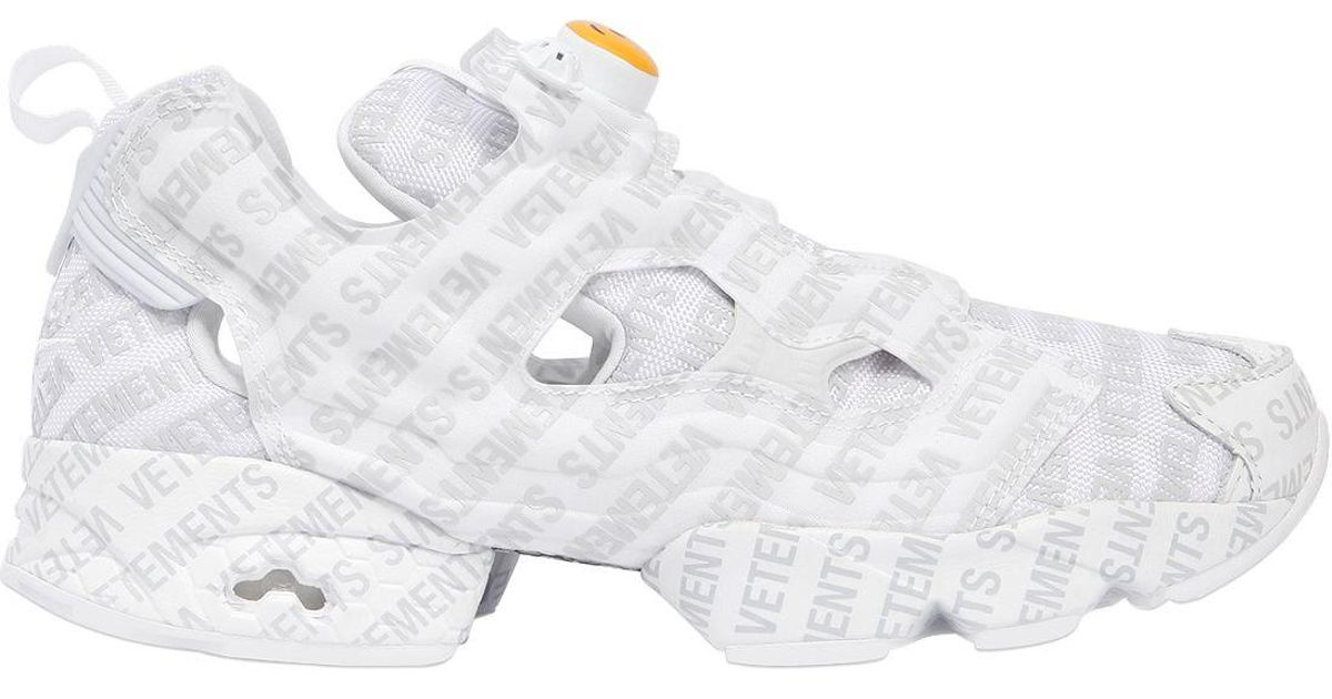 0c46f7964b9 Lyst - Vetements Reebok Logo Instapump Fury Sneakers in White for Men -  Save 19%