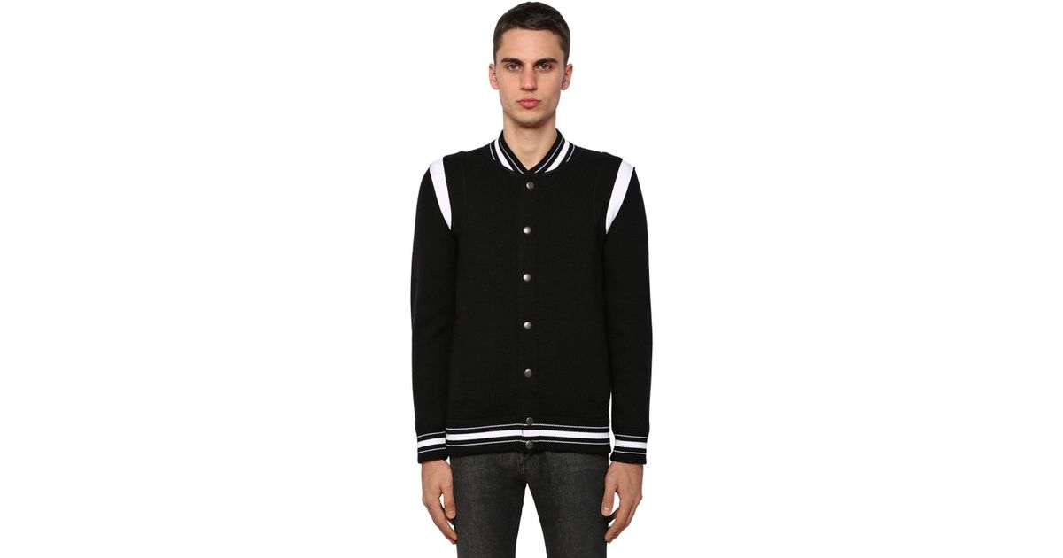 eaa9e67e6 Givenchy - Black Embroidered Wool Knit Bomber Jacket for Men - Lyst