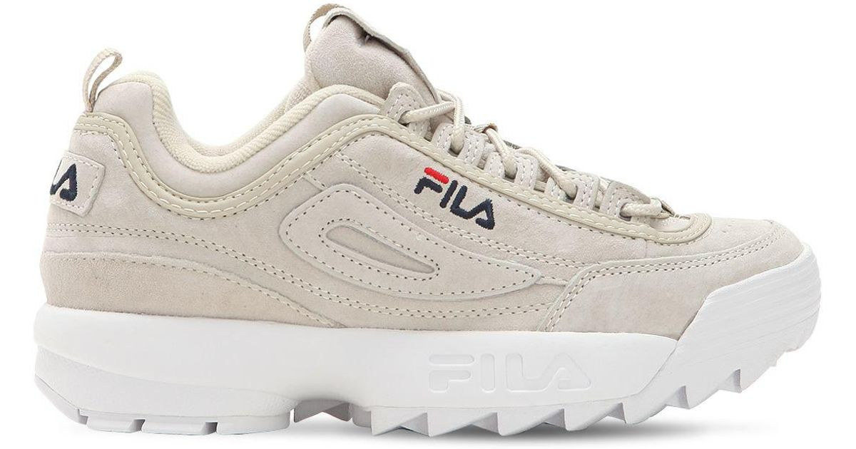 c587fb57b80 Lyst - Fila Disruptor Suede Platform Sneakers in Natural