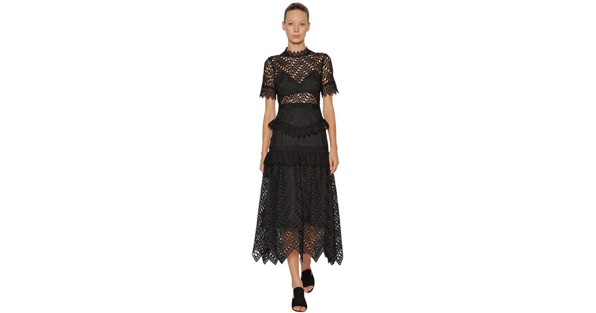 336f7baef904 Lyst - Self-Portrait Abstract Triangle Lace Midi Dress in Black - Save 37%
