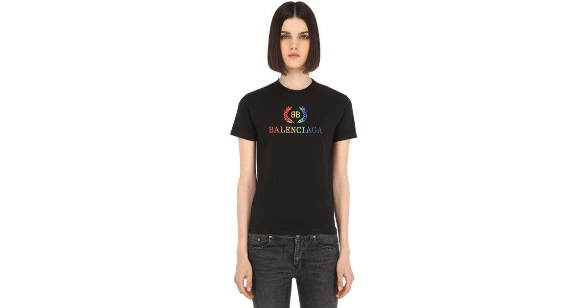 a8d0bbcf5d3c Balenciaga Rainbow Bb Small T-shirt in Black - Save 10% - Lyst