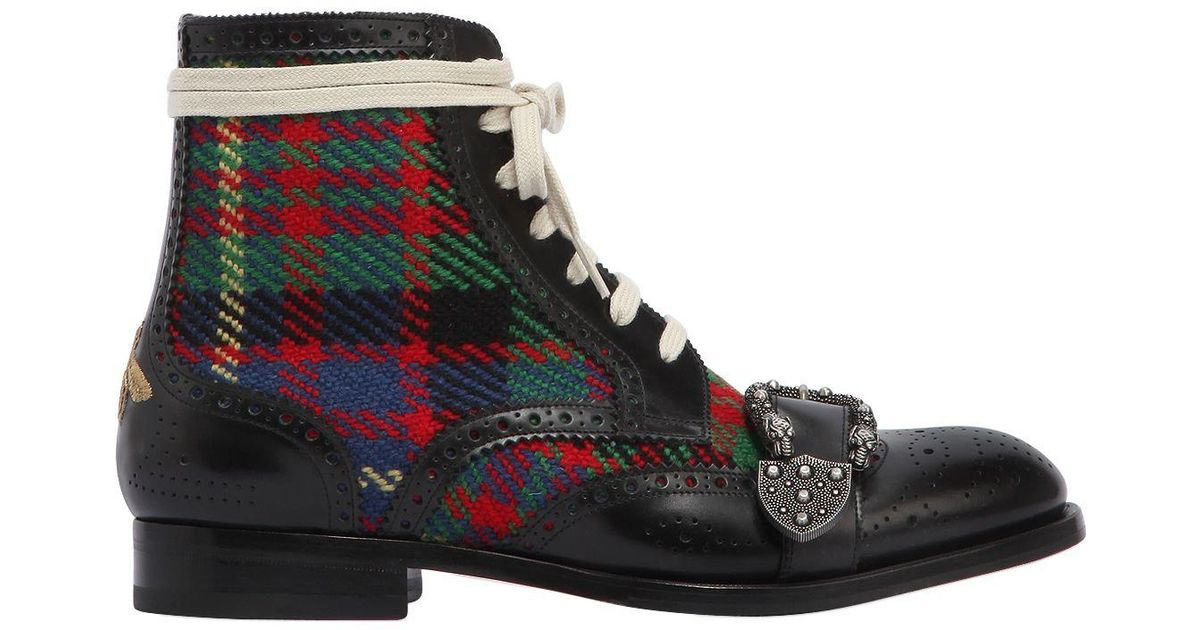 7c128888c66 Lyst - Gucci Queercore Leather   Tweed Boots for Men