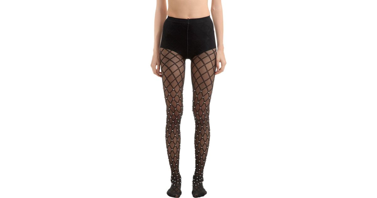 e44ef5e78 Wolford Pearl Beaded Net Stockings in Black - Lyst