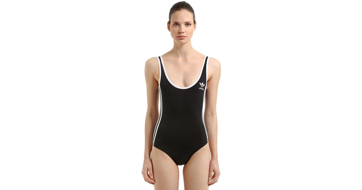 3842c4f225 adidas Originals 3 Stripes Training Leotard in Black - Lyst
