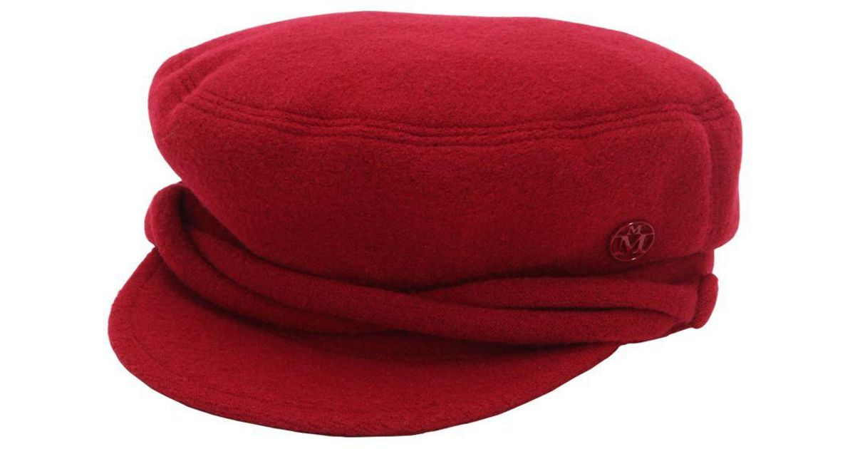 5dd494da9e984 Maison Michel New Abby Wool Captain s Hat in Red - Save 50% - Lyst