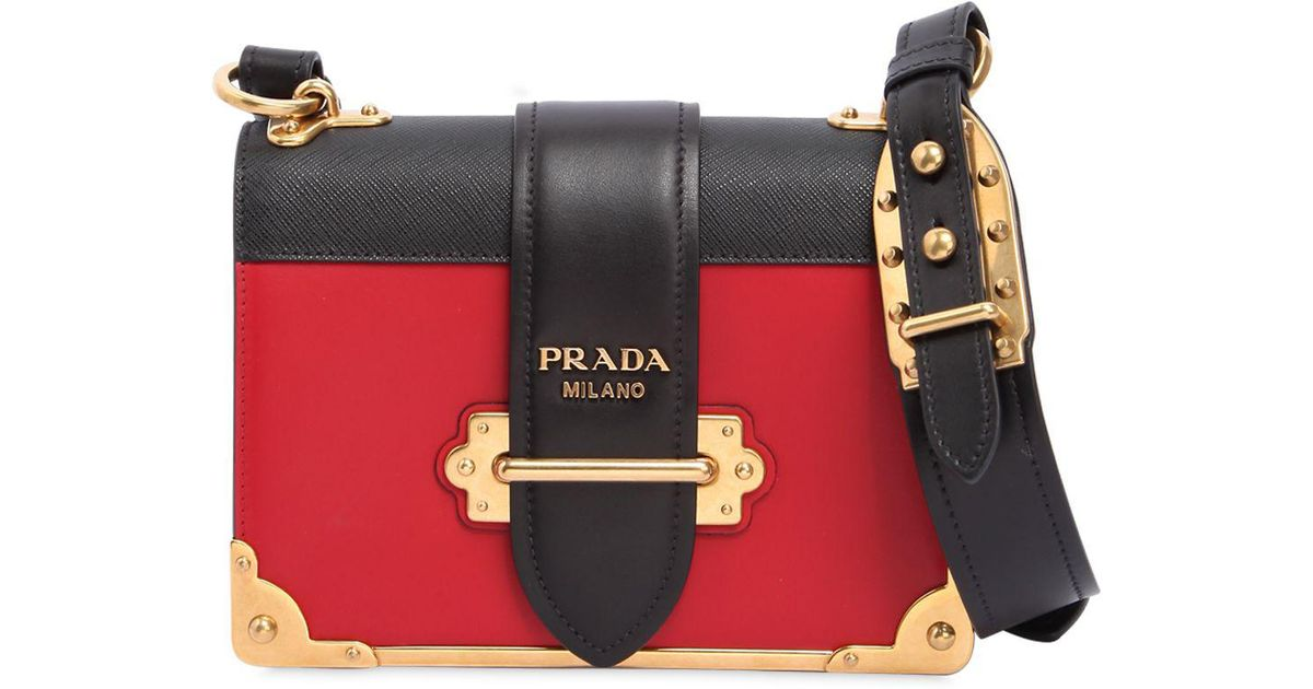 158171f15a6e9e ... free shipping good lyst prada cahier shoulder bag in red in red save 14  10d10 c66e7