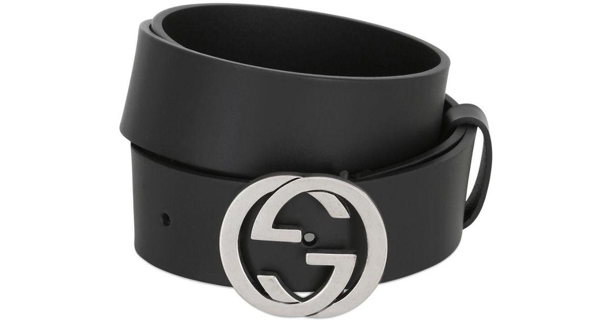 Lyst - Cinturón De Piel Con Hebilla Gg 37mm Gucci de hombre de color Negro c4d72066ba0