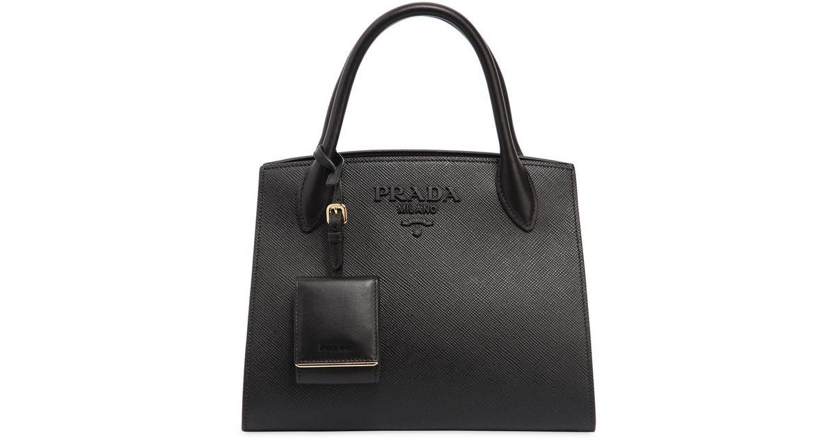 80bdf75024 ... czech lyst prada small monochrome saffiano leather bag in black 4dd0f  b297b