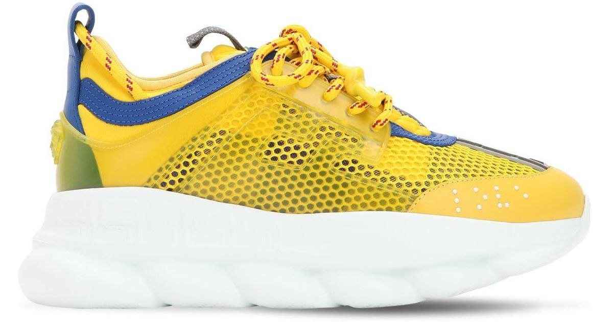 b3f0a3ea9b4 Versace Chain Reaction Mesh   Plaid Sneakers in Yellow - Lyst