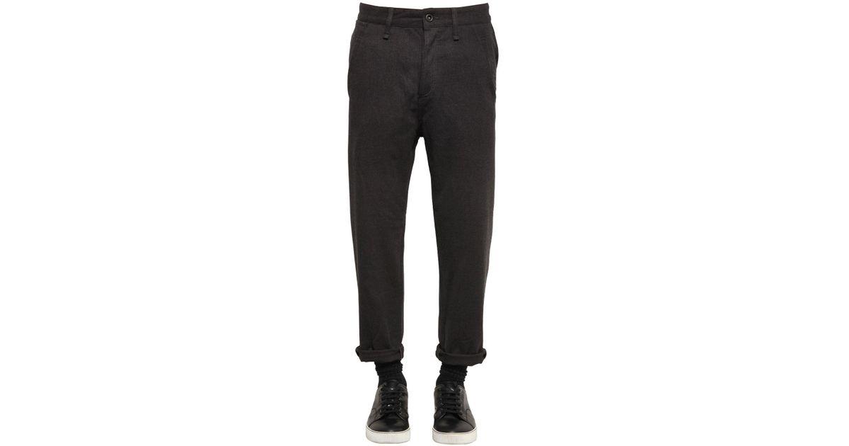 1cd3a63ada Lyst - Denham Drop Fit Heathered Flannel Pants in Black for Men