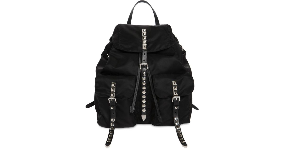 cd4bb9f121b6 Prada Nylon Backpack W  Studded Straps in Black - Lyst