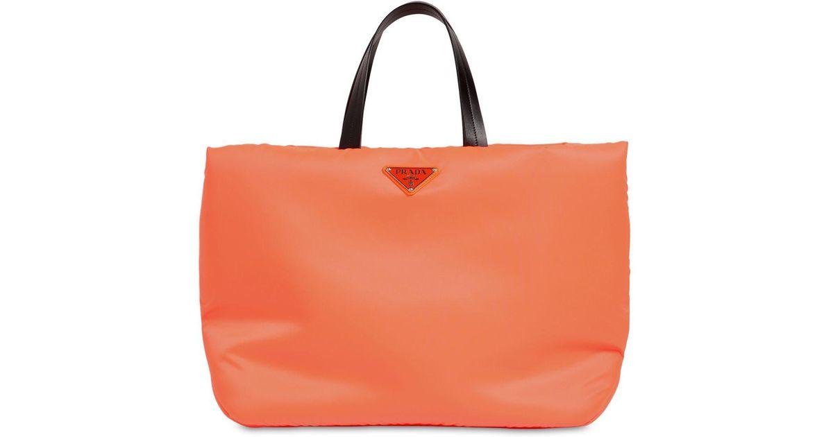 sale prada nylon tote bag handbags nylon black ref.76590 joli closet d0283  68277  coupon for lyst prada puffer nylon tote bag in orange 59a91 a045b 35c6f2f6ed