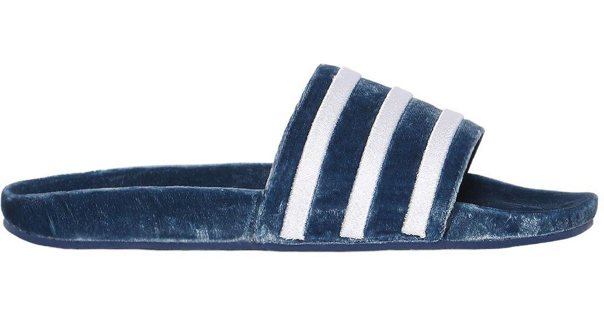f8cd1305828e8 Adidas Originals Adilette Velvet Slide Sandals in Blue - Lyst