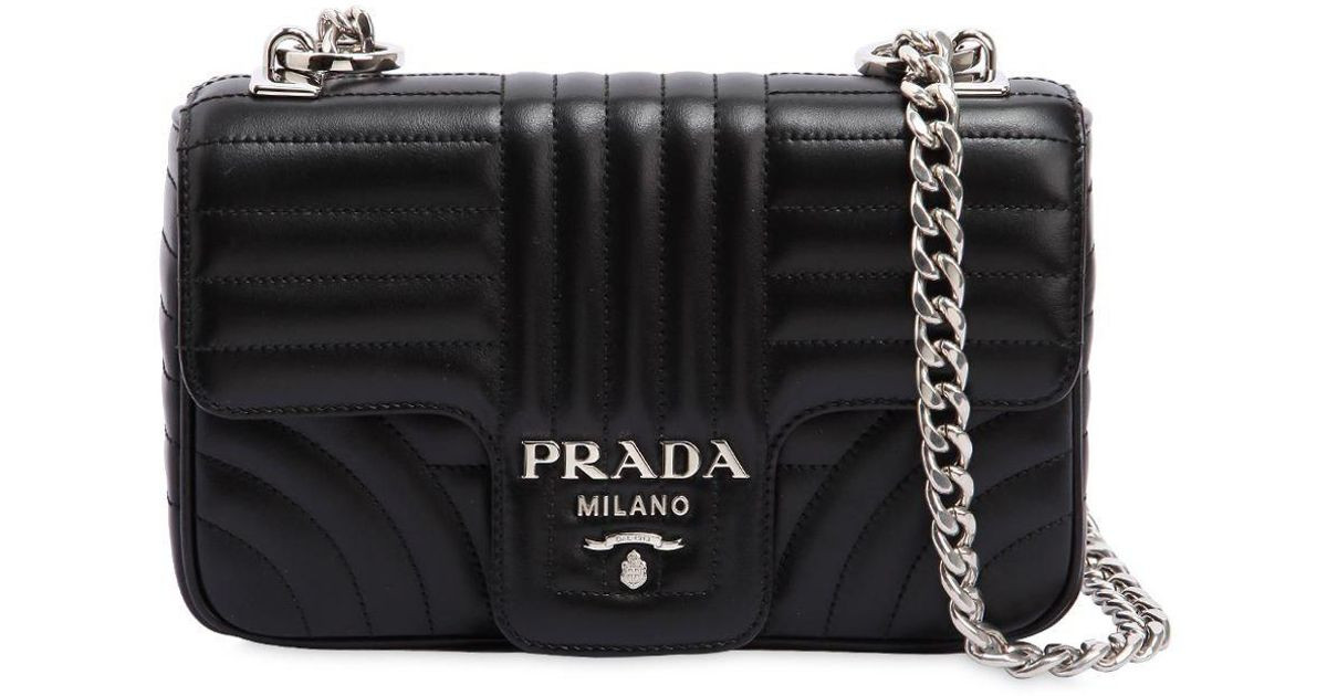 432fc2275f Lyst - Prada Small Quilted Soft Leather Flap Bag in Black