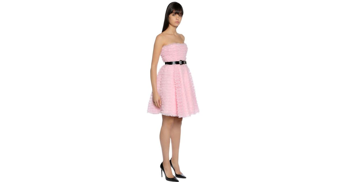 Lyst - DSquared² Ruffled Tulle Strapless Dress in Pink 66e64124f4934